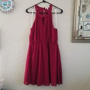 Burgundy flowy summer dress